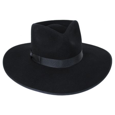 Rancher Black Wool Felt Fedora Hat alternate view 7