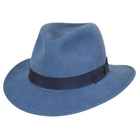 Curtis Light Blue Wool Felt Safari Fedora Hat