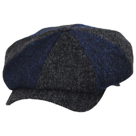 Wigens Caps Shetland Patchwork Harris Tweed Wool Newsboy Cap