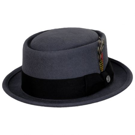 Gray Wool Felt Pork Pie Hat