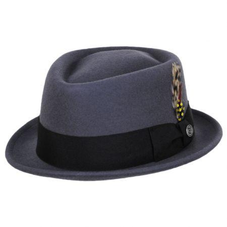 Gray Wool Felt Diamond Crown Fedora Hat