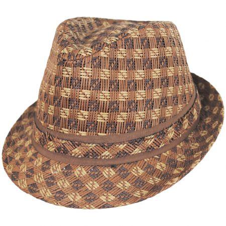 Panama Jack Plaid Toyo Straw Fedora Hat
