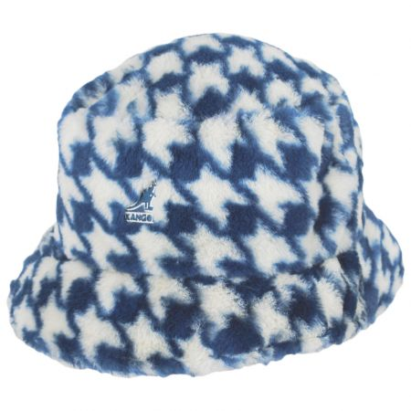 Houndstooth Faux Fur Bucket Hat