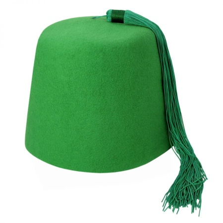 B2B Green Fez with Green Tassel