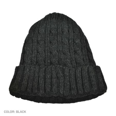B2B Jaxon Cable Knit Beanie Hat (Black)