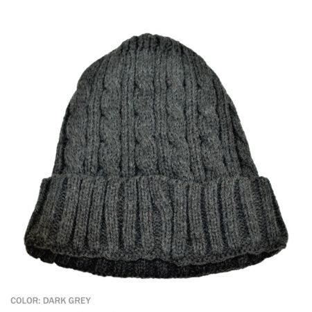 B2B Jaxon Cable Knit Beanie Hat (Dark Gray)