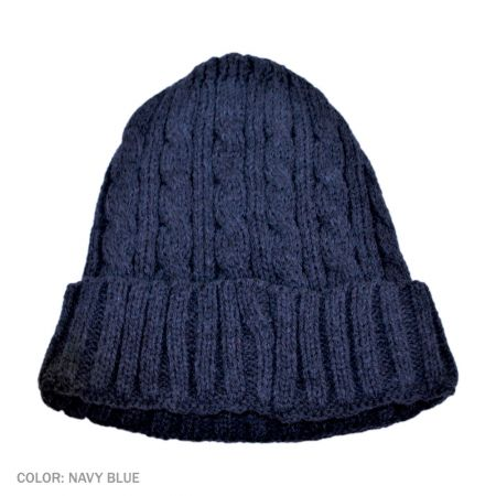 B2B Jaxon Cable Knit Beanie Hat (Navy Blue)