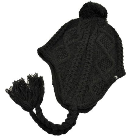 B2B Jaxon Cable Knit Peruvian Beanie Hat (Black)