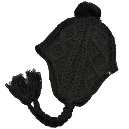 B2B Jaxon Cable Knit Peruvian Beanie Hat (Black)