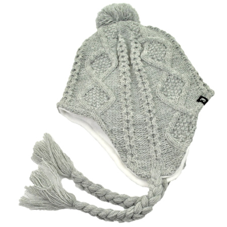 B2B Jaxon Cable Knit Peruvian Beanie Hat (Light Grey)