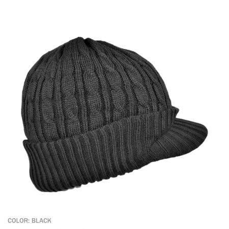 B2B Jaxon Cable Knit Visor Beanie Hat (Black)
