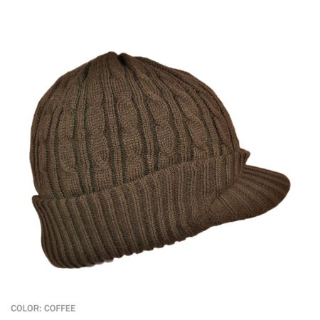 B2B Jaxon Cable Knit Visor Beanie Hat (Coffee)