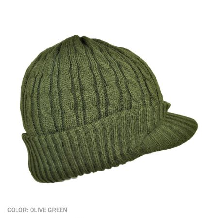 B2B Jaxon Cable Knit Visor Beanie Hat (Olive Green)