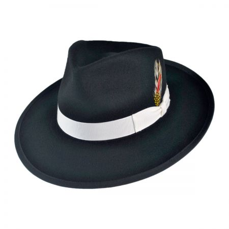 B2B Jaxon Classics Zoot Wool Felt Fedora Hat - Made in the USA (Black)