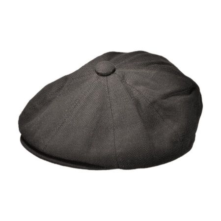 B2B Jaxon Cotton Pique Newsboy Cap (Black)