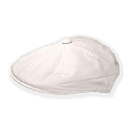 B2B Jaxon Cotton Pique Newsboy Cap (White)