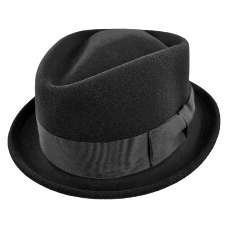 B2B Jaxon Crushable Wool Felt Diamond Crown Fedora Hat  (Black)