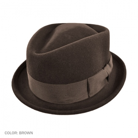 B2B Jaxon Crushable Wool Felt Diamond Crown Fedora Hat  (Brown)