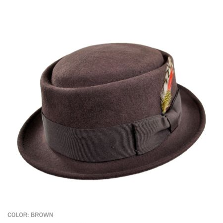 B2B Jaxon Crushable Pork Pie Hat (Brown)
