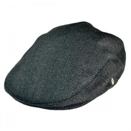 B2B Jaxon Large Herringbone Wool Blend Ivy Cap