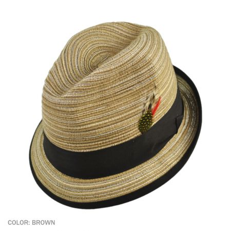 B2B Jaxon Multi Stripe Trilby Fedora Hat (Brown)