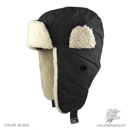 B2B Jaxon Oilcloth Trapper Hat (Black)