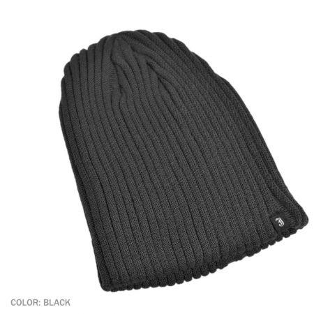B2B Jaxon Rib Knit Beanie Hat (Black)