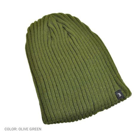 B2B Jaxon Rib Knit Beanie Hat (Olive Green)