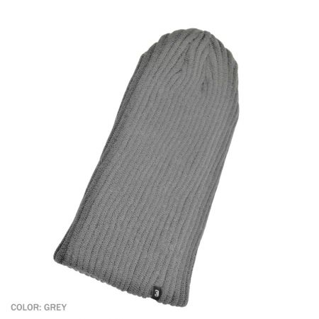 B2B Jaxon Rib Knit Slouchy Beanie Hat (Gray)