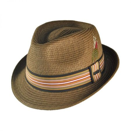 B2B Jaxon Ridley Toyo Straw Trilby Fedora Hat - Chestnut