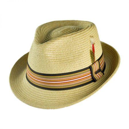 B2B Jaxon Ridley Toyo Straw Trilby Fedora Hat - Natural