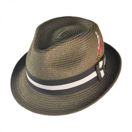 B2B Jaxon Ridley Toyo Straw Trilby Fedora Hat - Olive Green