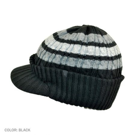 B2B Jaxon Striped Cable Knit Visor Beanie Hat (Black)