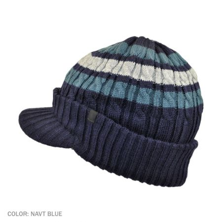 B2B Jaxon Striped Cable Knit Visor Beanie Hat (Navy Blue)