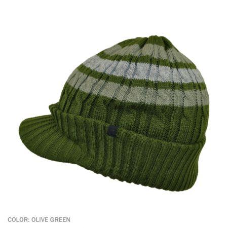 B2B Jaxon Striped Cable Knit Visor Beanie Hat (Olive Green)