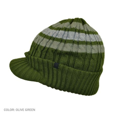 B2B Jaxon Striped Cable Knit Visor Beanie Hat (Olive Green)