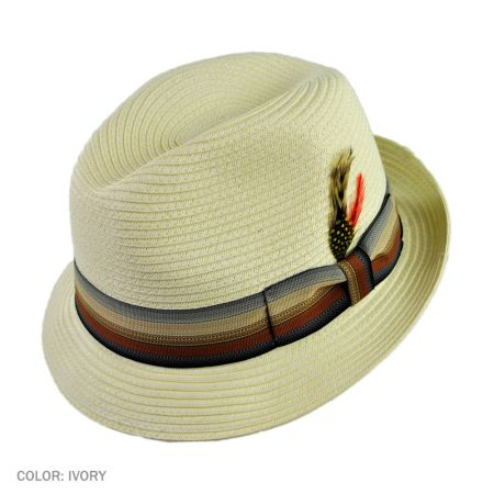 B2B Jaxon Summer Blues Trilby Fedora Hat (Ivory)