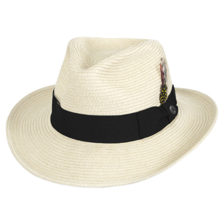 B2B Jaxon Summer C-Crown Toyo Straw Fedora Hat (Ivory)