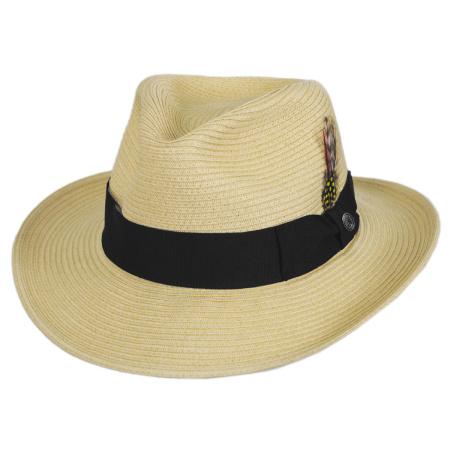 B2B Jaxon Summer C-Crown Toyo Straw Fedora Hat (Natural)