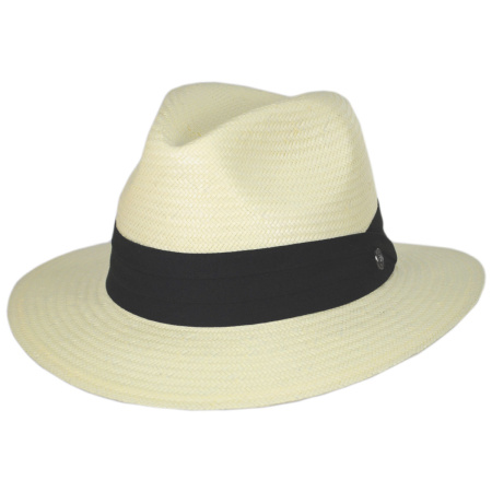 B2B Jaxon Toyo Straw Safari Fedora Hat - Black Band