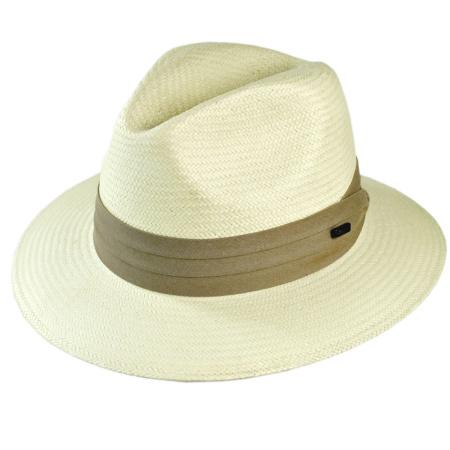 B2B Jaxon Toyo Straw Safari Fedora Hat - Khaki Band (Ivory)
