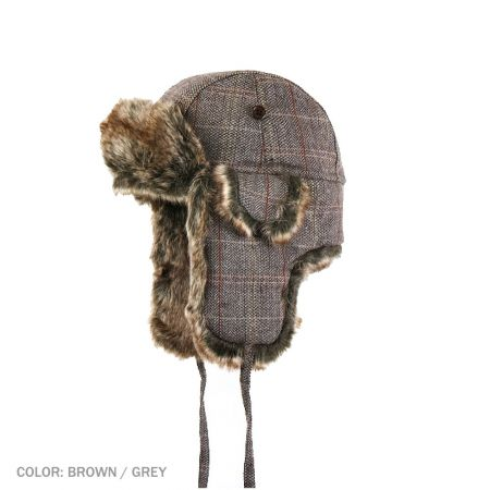 B2B Jaxon Tweed Trapper Hat (Brown/Grey)