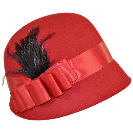 B2B sur la tete Chloe Wool Cloche Hat (Red)