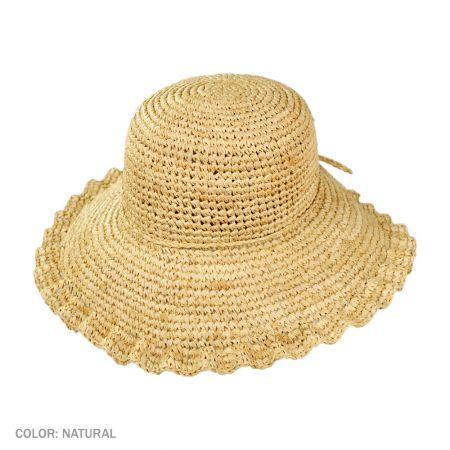 B2B sur la tete Crochet Raffia Ruffle Brim Floppy Hat (Natural)