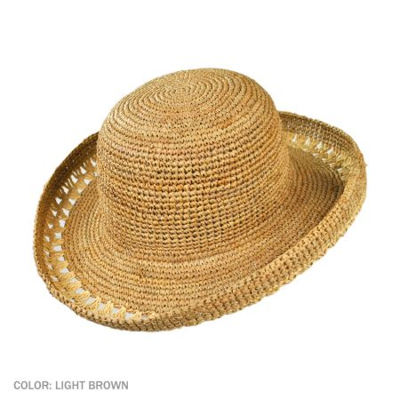 B2B sur la tete Crochet Raffia Sunhat (Light Brown)