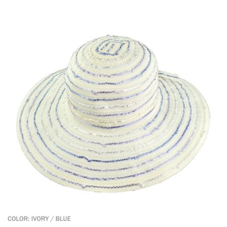B2B sur la tete Ribbon Swinger Sun Hat with Buttons (Ivory/Blue)