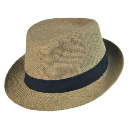 Jute Fabric C-Crown Trilby Fedora Hat alternate view 1