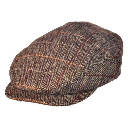 Jaxon Hats Square Bill Herringbone Plaid Wool Ivy Cap