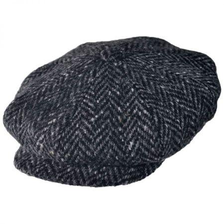 City Sport Caps Large Herringbone Donegal Tweed Wool Newsboy Cap - Black/Charcoal