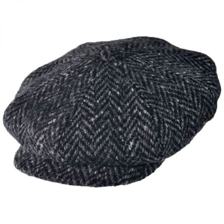 Large Herringbone Donegal Tweed Wool Newsboy Cap - Black/Charcoal